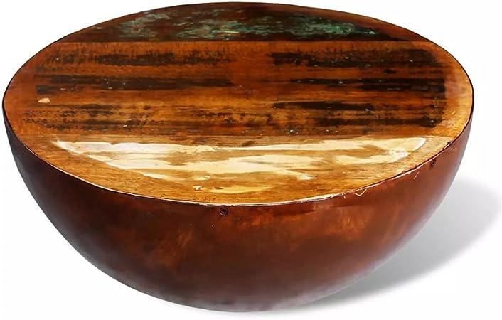 tiauant Mesa Baja con Forma de Cuenco de Madera Maciza de recuperación con Base de Acero. Material de la Base: Acero, Mesa Baja y jardín: Amazon.es: Hogar