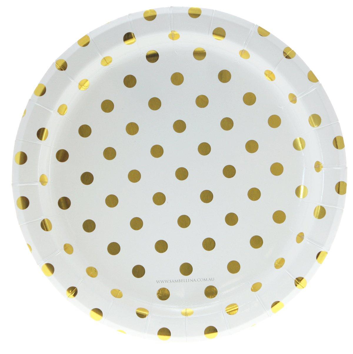 12 Pappteller in Weiß mit goldenen Punkten - Polkadot Gold - Punkte Pappteller Sambellina