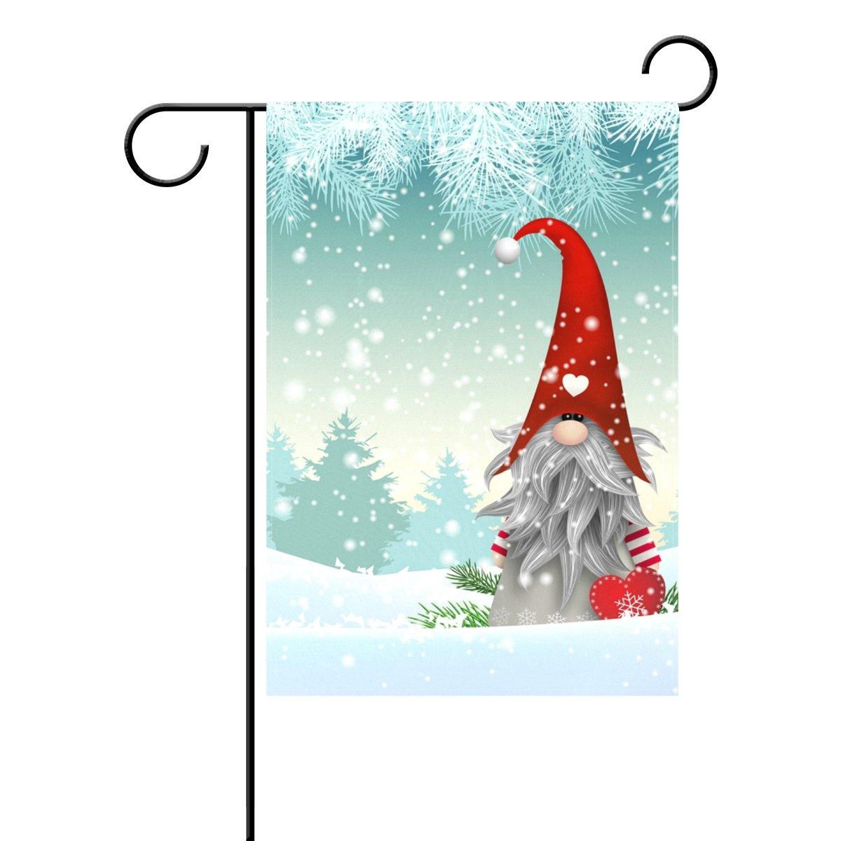 ALAZA Duble Sided Cartoon Winter Christmas White World Snow and Fir Tree Polyester Garden Flag Banner 12 x 18 Inch for Outdoor Home Garden Flower Pot Decor