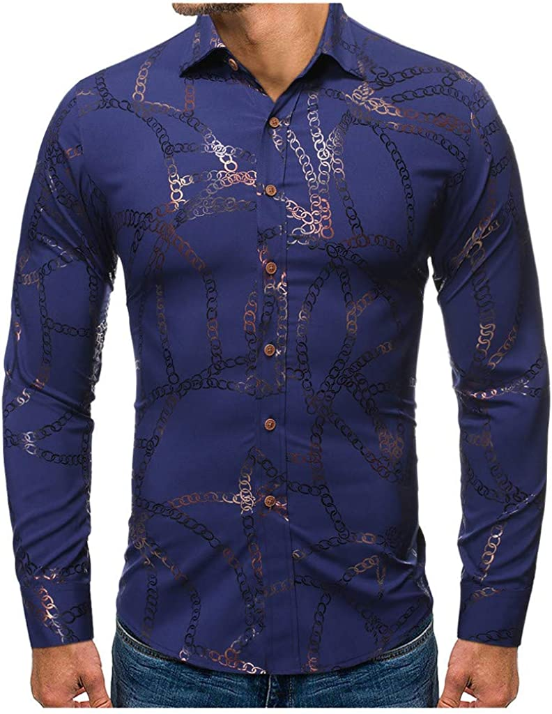 iZZZHH Mens New Slim Fit Gold Stamping Long Sleeve Shirt Fashion Print Blouse