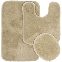 Garland Rug 3-Piece Finest Luxury Ultra Plush Washable Nylon Bathroom Rug Set, Linen