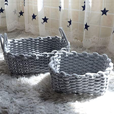Grey, M Cotton Rope Storage Basket Planter Seagrass Cover Woven StrawPot Basket Indoor Woven Baby Laundry Basket with Handle for Diaper Toy Cute Neutral Home Decor