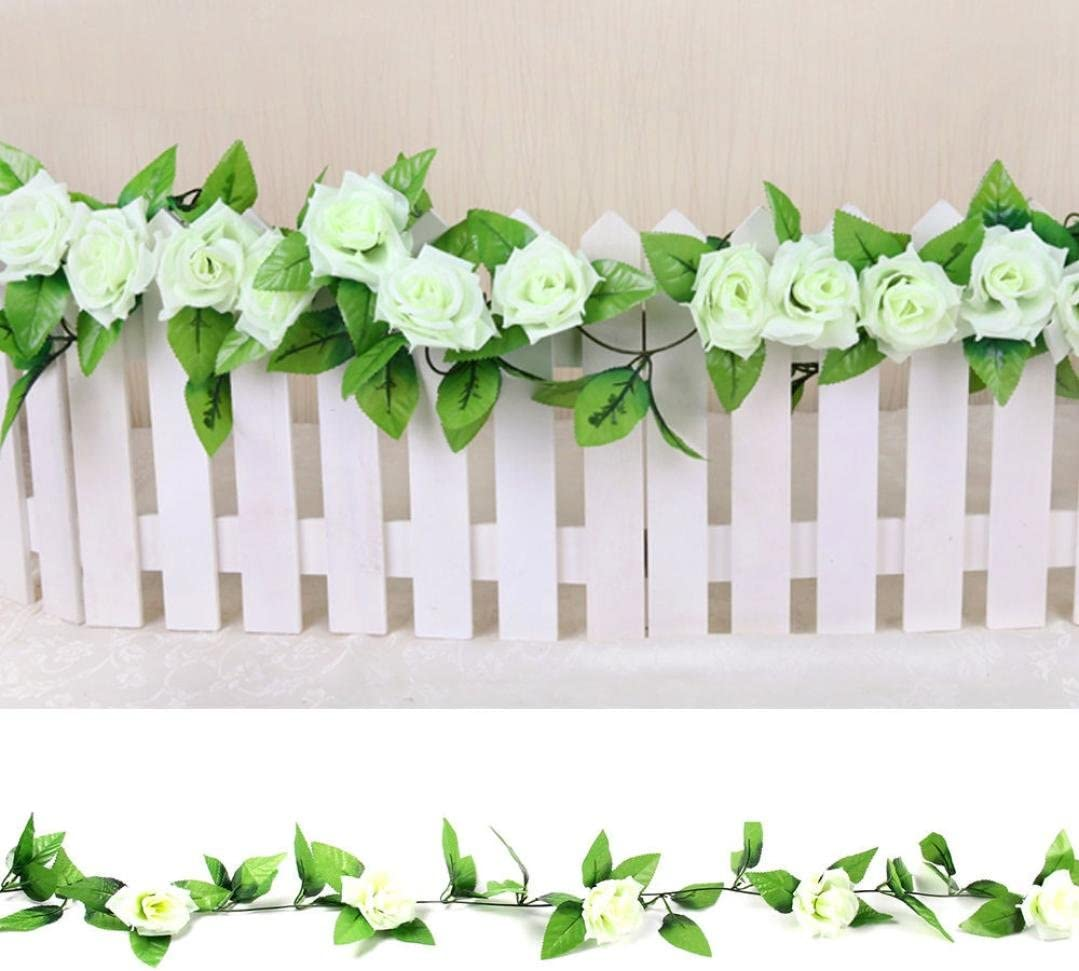 8Ft Artificial Fake Silk Rose Flower Ivy Vine Garland Wedding Party 2018