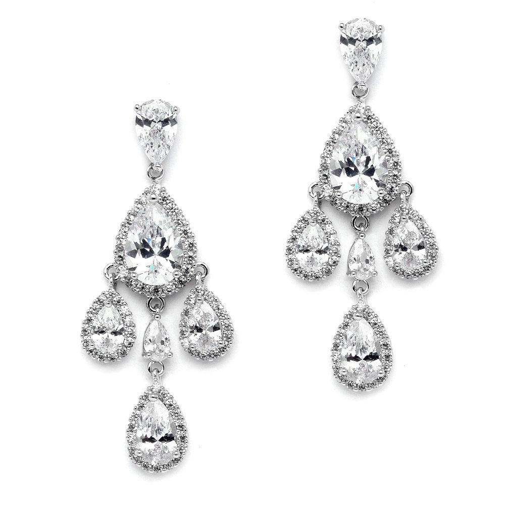 Mariell Clip On CZ Chandelier Bridal Prom Wedding Earrings - Silver Platinum Pear-Shaped Teardrop Dangles