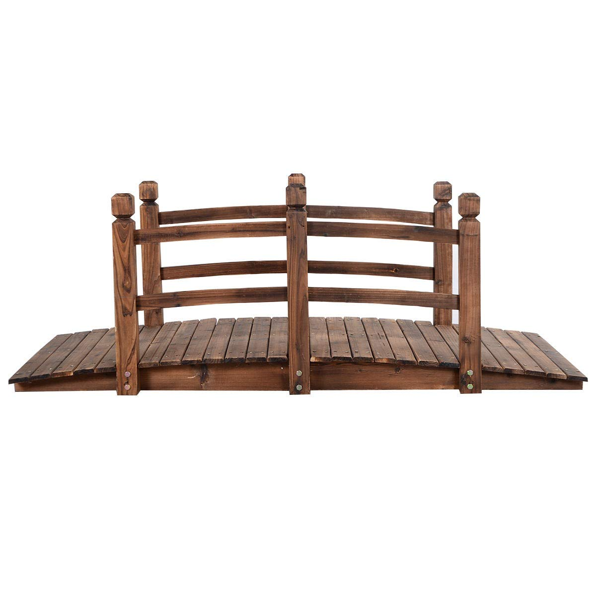 LHONE 5' Garden Bridge Wooden Stained Finish Decorative Solid Wood Garden Pond Arch Walkway Backyard Bridge with Railings by LHONE (Image #1)