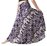 Bangkokpants Women's Long Hippie Skirts Elephant US Size 0-12 (purple)