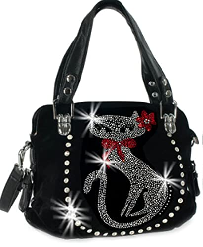 Zzfab Double Handles Rhinestone Cat Purse Black  Handbags  Amazon.com 00c5bd7adf2aa