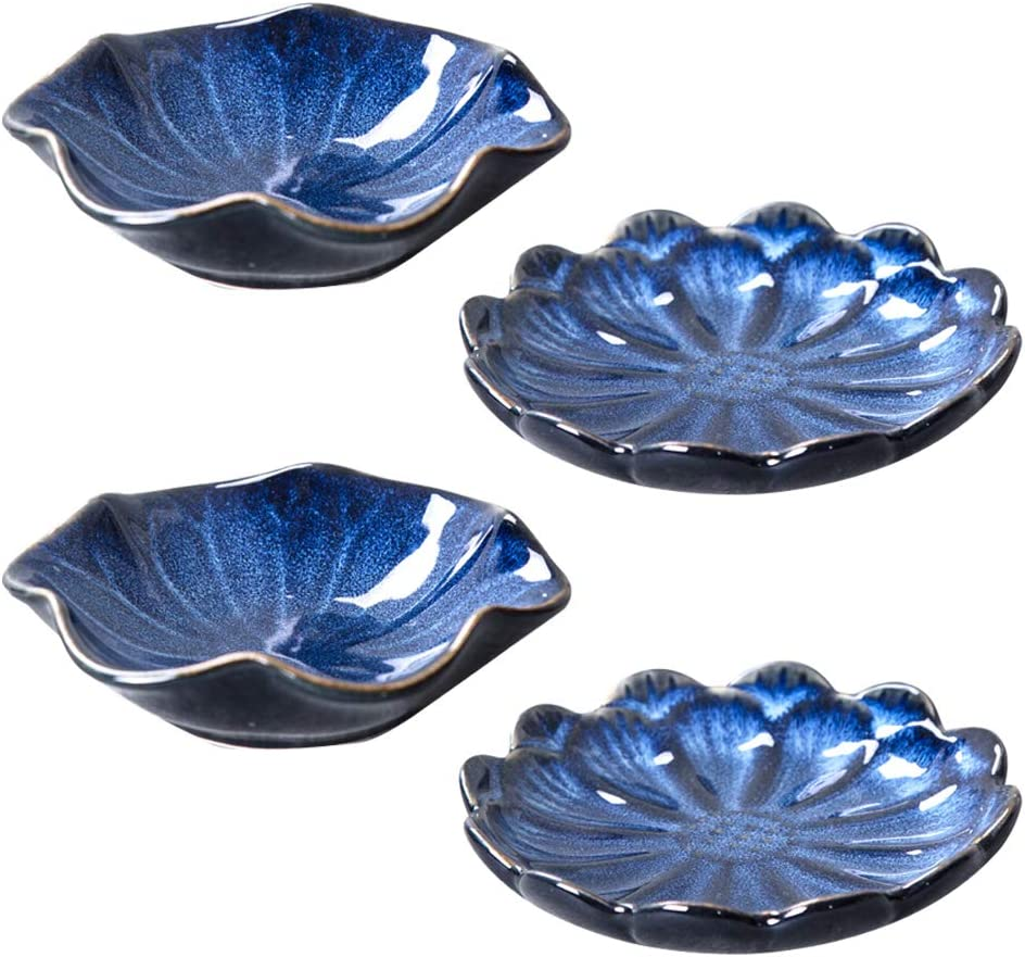 Multipurpose Japanese Ceramic Dishes,Famhome Multicolor Leaf Beautiful Condiment Dishes Snack Serving Dishes Dinnerware Set - Saucer for Vinegar/Salad/Soy Sauce Set of 4