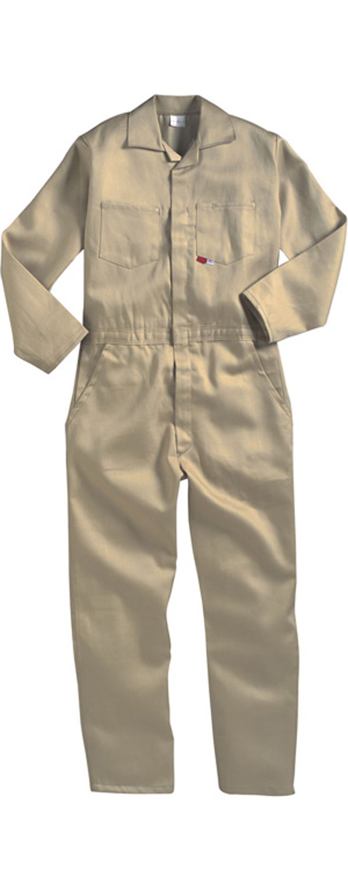 KHAKI - 3X - Saf-Tech Flame Resistant (FR) Work Style Coveralls - 7oz. Westex ULTRA SOFT Fabric - HRC 2 - ATPV=11.5 cal/m2 - MADE IN THE U.S.A. - TALL-Cut Overall