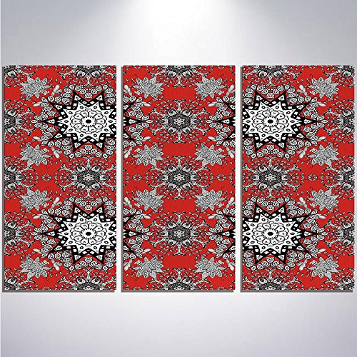 96632b2d91b1 iPrint 3 Piece Canvas Wall Art - Red Mandala - Pictures on Canvas Wall Art  Ready to Hang for Bedroom Home Decorations - 12