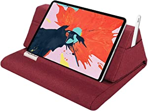 """MoKo Tablet Pillow Stand, Soft Bed Pillow Holder, Fits up to 11"""" Pad, Fit with iPad 10.2""""(8th Gen), New iPad Air 4 10.9""""/ Air 3, iPad Pro 11/10.5/9.7, Mini 5 4, Galaxy Tab S6/ S7 11"""", Red Wine"""