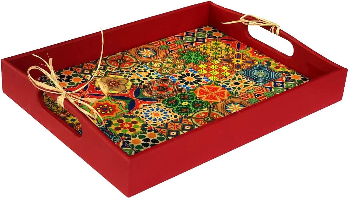 """Handmade Boho Red Tiled Decorative Tray for Mirror and Vases with Handles - 15""""x11.2"""" - Traditional Wooden Coffee Table Tray for Home Decor – Centerpiece Ottoman Tray by TTDECO"""
