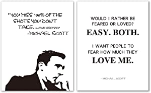 "Brital Michael Scott Motivational Quote Poster Set, The Office Poster Wall Prints, Would I Rather Be Feared or Loved? Great Present for The Office Fans, 11"" x 14"" Unframed (Set of 2)"