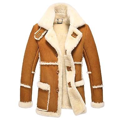 84d80468a48 Cwmalls Men's Rancher Shearling Sheepskin Jacket CW878258