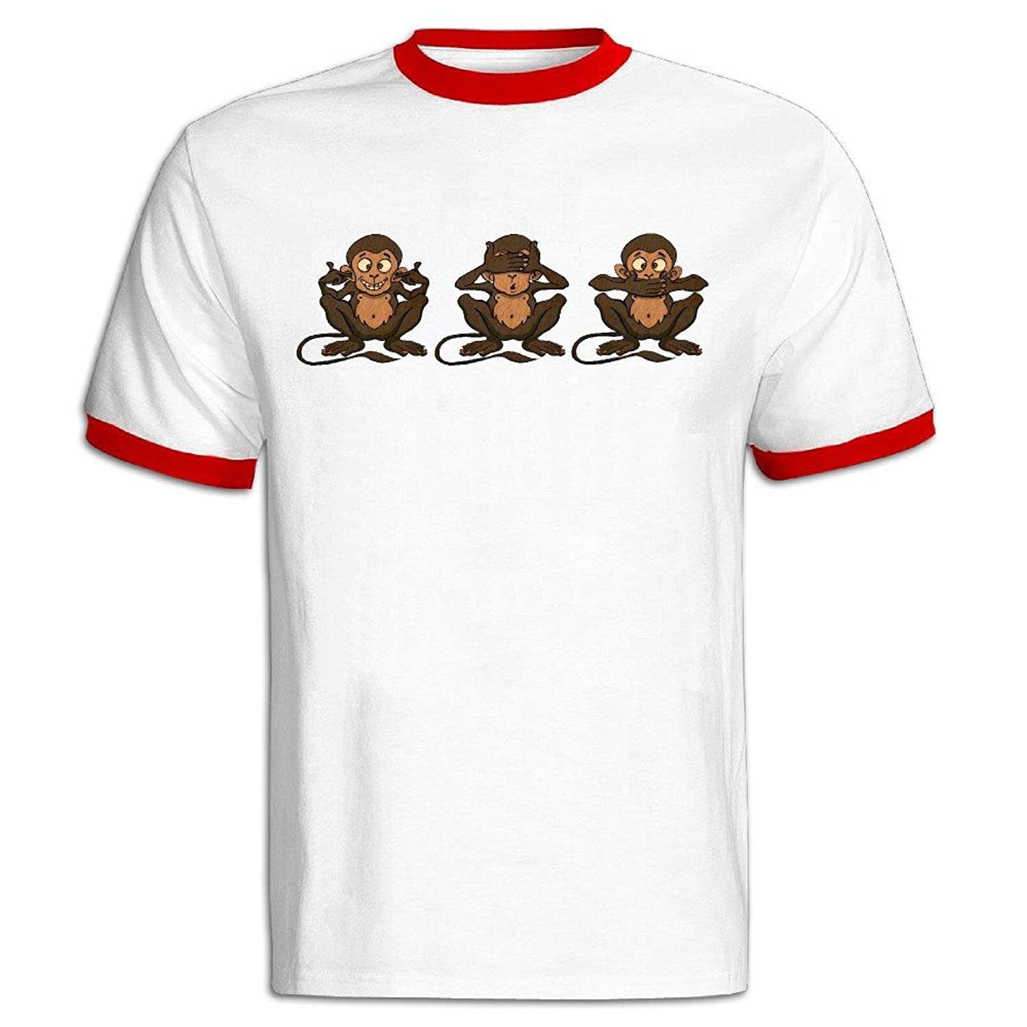NUBIA Emoji Monkey Making Face Contrast Color Vintage Tshirt For Mens Black