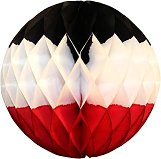 product image for 3-Pack 12 Inch Honeycomb Tissue Paper Ball Decoration (Black/White/Red)