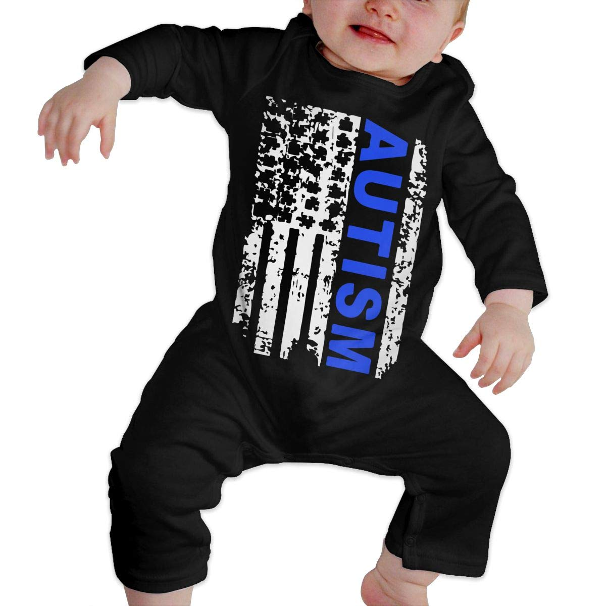 Soft Autism Awareness Flag Crawler U99oi-9 Long Sleeve Cotton Rompers for Baby Girls Boys