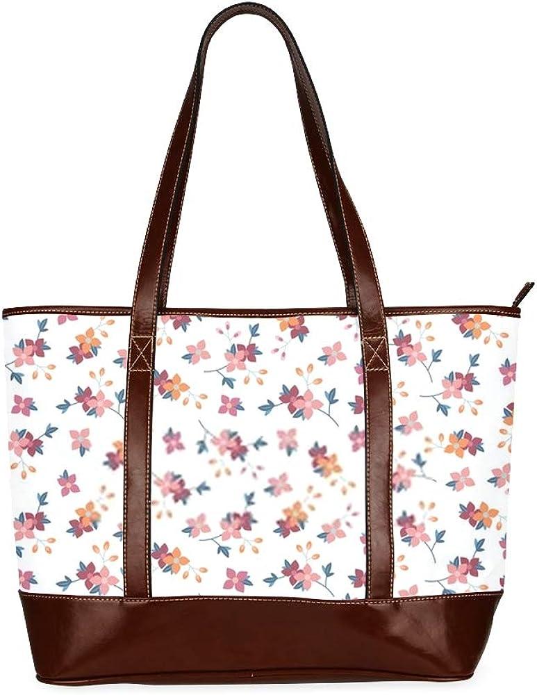 Tote Bags Vintage Small Vector Flowers Seamless Pattern Travel Totes Bag Fashion Handbags Shopping Zippered Tote For Women Waterproof Handbag