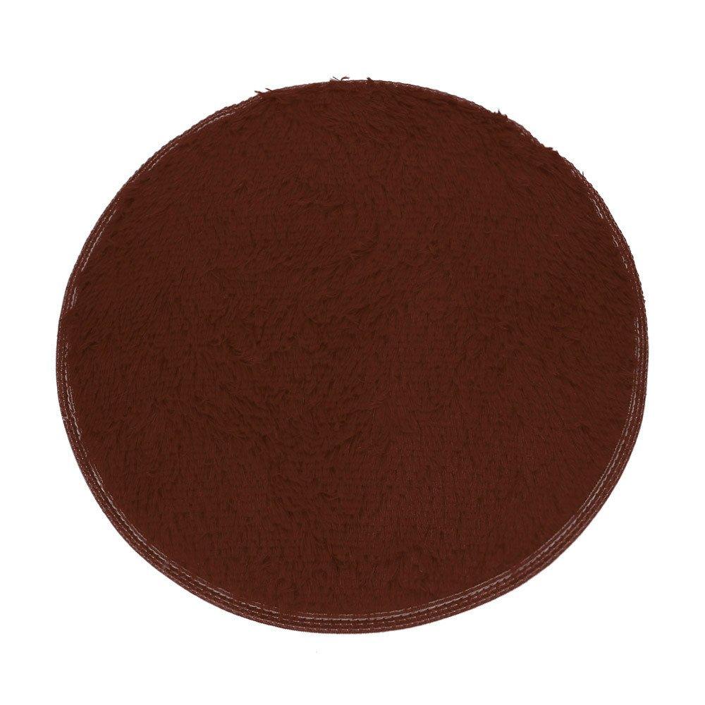 Clearance Tuscom Coral Fleece Round Rug Non-Slip Mat for Soft Bath Bedroom Floor Shower(10 Colors) (Khaki)