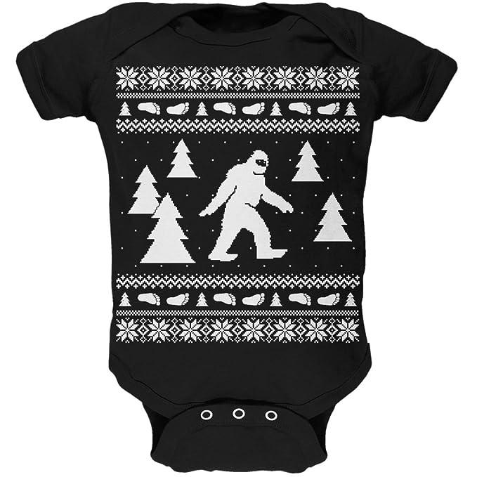 Sasquatch Ugly Christmas Sweater Black Long Sleeve T-Shirt Top