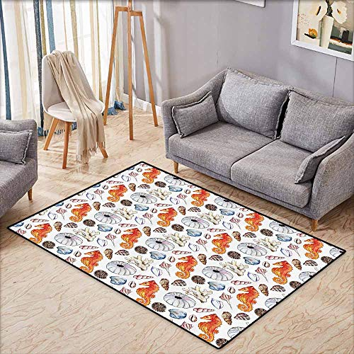 Large Area mat,Animal Decor,Bunch of Deep Sea Elements with Screw Shell Crabs Urchin Oyster Coral Ammonit Print,Extra Large Rug,4'11