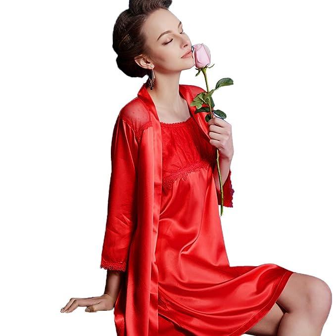 Dama Sexy Pijama De Seda Roja De Dos Piezas Tirantes Traje De Dormir De Manga Corta Batas De Albornoz Trajes Cómodos,Red-XXL: Amazon.es: Ropa y accesorios