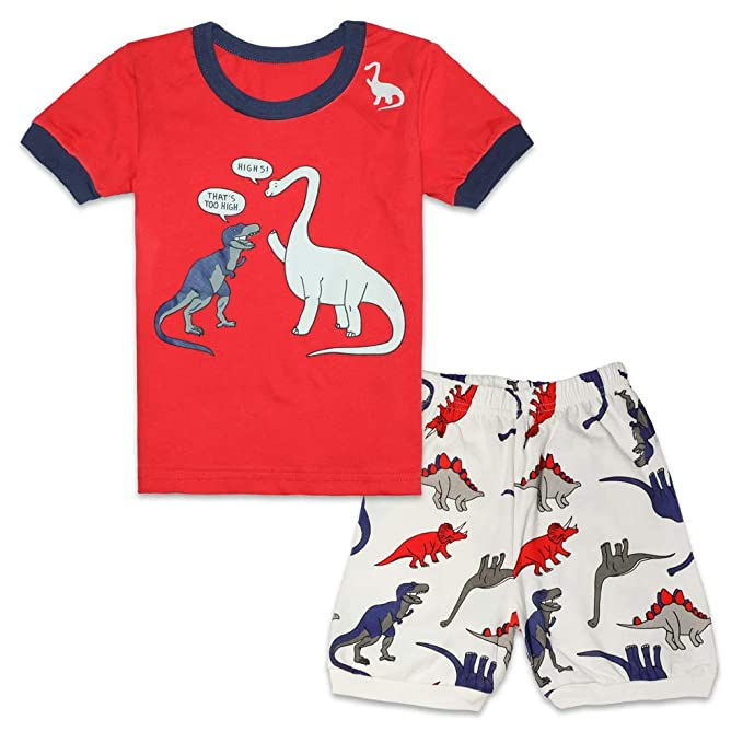 56c504c760 Tkala Boys Pajamas Children Clothes Set Dinosaur 100% Cotton Little Kids  Pjs Sleepwear (5