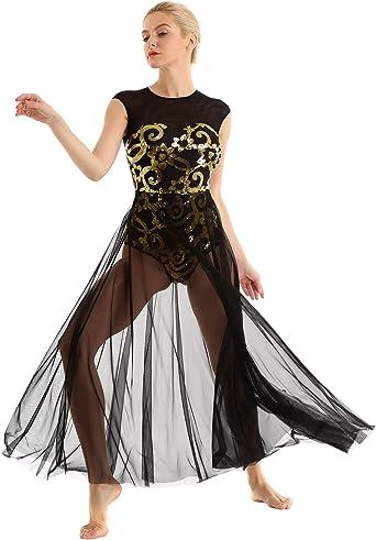 Girls Kids Lyrical Modern Dance Dress Floral Sequin Side Open Ballroom Costume
