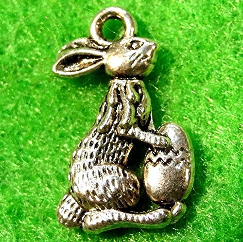 10Pcs. Tibetan Silver Rabbit 3D Easter Bunny w/Egg Charms Pendants Drops A Charms DIY Crafting by WCS