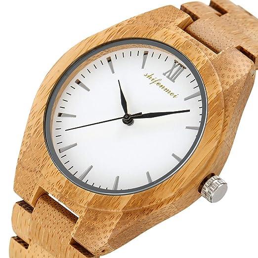 HWCOO Hermosos Relojes De Madera Reloj Bamboo Mens Wood Reloj Bamboo y Madera Quartz Watch Hombre (Color : 1): Amazon.es: Relojes