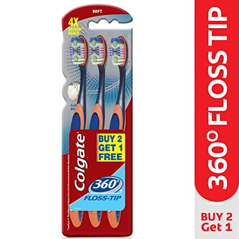Image Unavailable. Image not available for. Colour  Colgate Toothbrush-360  Degree Flosstip - Buy 2 Get 1 Free (Soft-Saver 33cc2da6260a