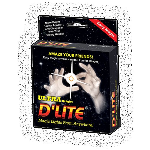 D'lites Regular White Lightup Magic - Thumbs Set / 2 Original Amazing Ultra Bright Light - Closeup & Stage Magic Tricks - Easy Illusion Anyone Can Do It - See Box for Free Training / Routine Videos