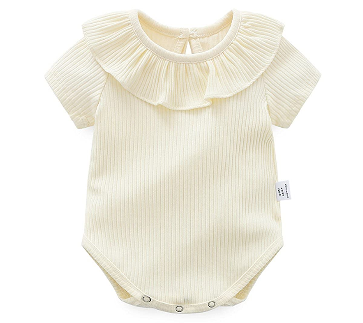 Ding-dong Baby Girl Summer Princess Ruffle Solide Romper