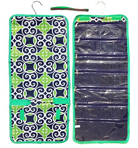 Best Large Navy Green Damask Hanging Jewelry Hanger Travel Bag Roll Organizer Set Top for Her Girl Kid Young Ladies Special Cute Great Birthday Gear Accessories Easter Basket Filler Gift Idea - Damask Jewelry