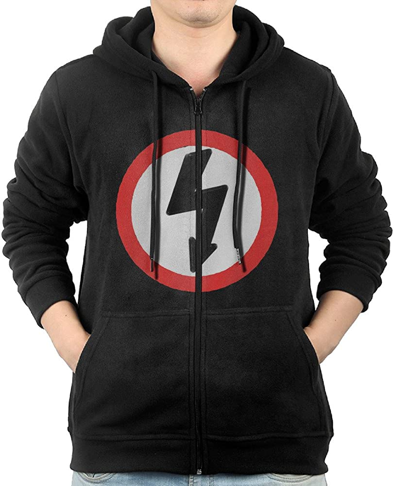 Marilyn Manson Bolt in Circle Basic Zip Black Hooded Sweatshirts for Mens with Pockets
