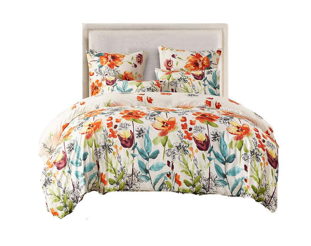 DuShow Tencel Lyocell Cotton Flower Pattern Duvet Cover Set - 3-Piece Ultra Soft Double Brushed Microfiber Printed Quilt with Pillows(plant,Queen)