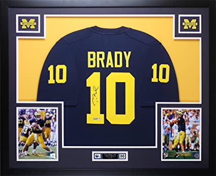the latest dc93d f3122 Tom Brady Autographed Navy Michigan Jersey - Beautifully ...