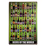 """Beers of the World Vintage Tin Sign 8"""" X 12"""" for Home & Bar&Coffee Decoration"""