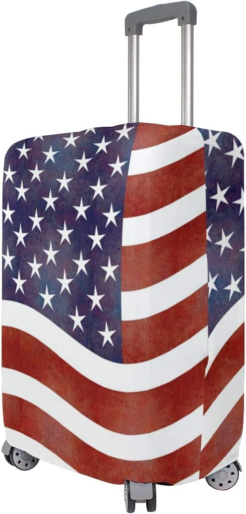 Nanmma Cute 3D American Flag Pattern Luggage Protector Travel Luggage Cover Trolley Case Protective Cover Fits 18-32 Inch