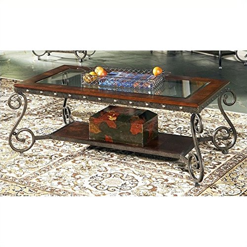 Scrolled Edge Glass Top Table - Steve Silver Ellery Cocktail Table w Nailhead Trim Decor