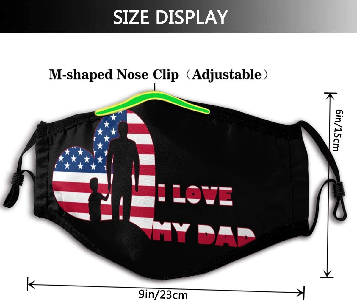 Anti-Dust With Filter I Love My Dad American Flag FatherS Day Personalized Mouth Sleeve Reusable Mouth Guard