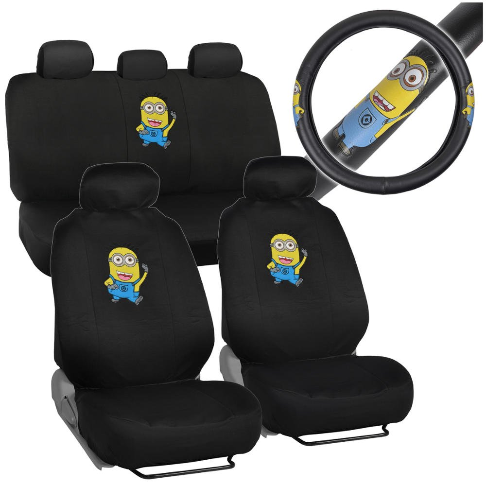 Amazon Despicable Me Minions Car Seat Covers W Embossed PU Leather Grip Steering Wheel Cover Automotive