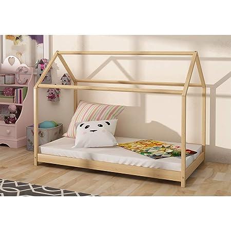 Targos Wooden House Bed Frame Kids Children Toddler Bed Pinewood Natural 160 x 80cm