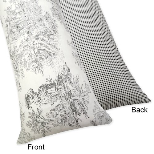 Sweet Jojo Designs Black French Toile Full Length Double Zippered Body Pillow Case Cover - Black And White Toile Bedding