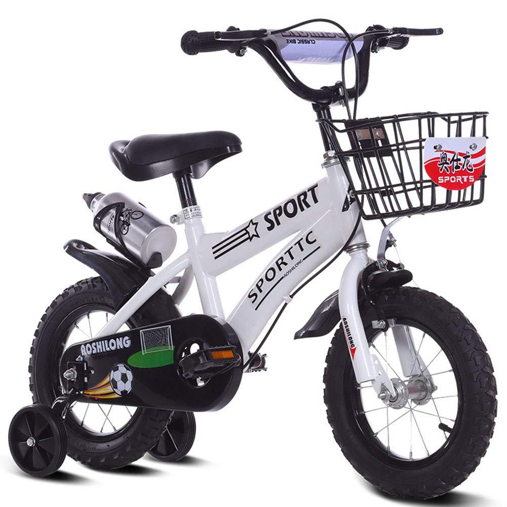 1-1 Bicicletta per Bambini e Bambine dai 3 Anni con Freno a V e contropedale - BMX da Modello 12  14  16  18 ,bianca,14IN