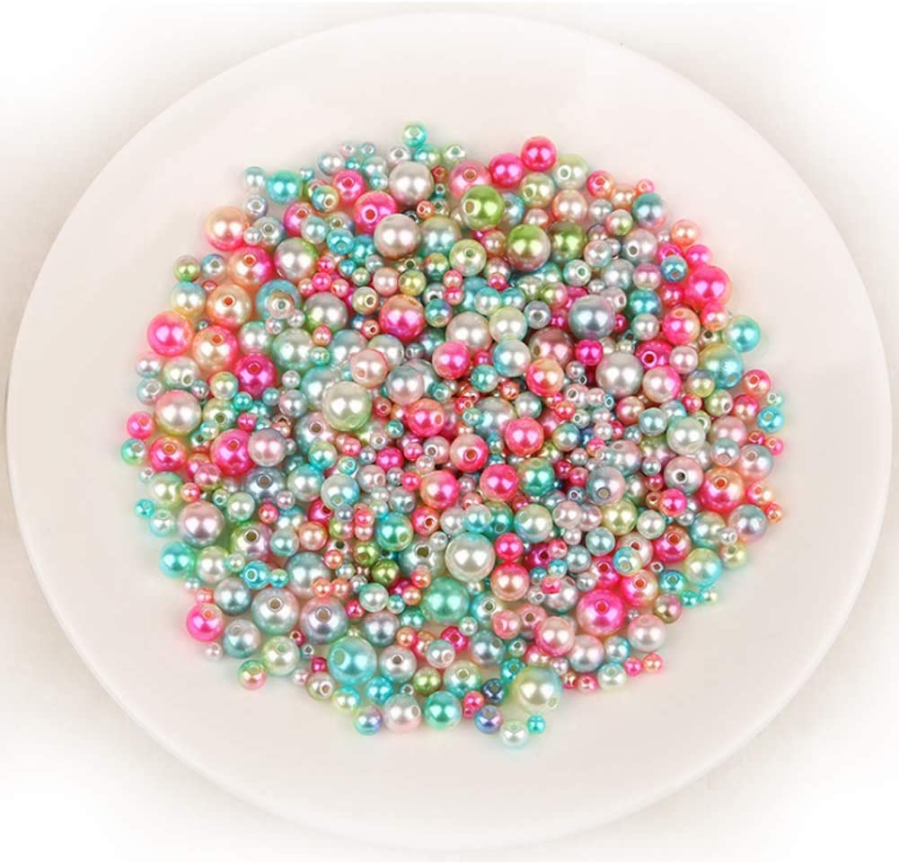 Faux Pearl Beads ABS Plastic Round Craft Beads Multipurpose DIY Jewelry Findings