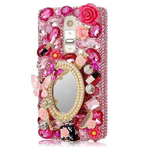 (Spritech(TM LG G Stylo Hard Case,Bling Crystal 3D Handmade Rhinestone Design Clear Phone Cover for LG G Stylo)