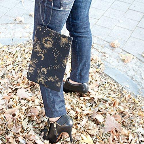 Clutch - Negro y dorado - Bolso de mano hecho a mano en algodón, con