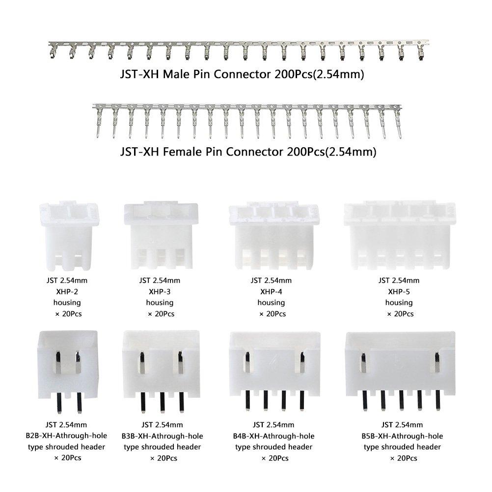 460pcs 2.54mm JST-XHP Connector Kit Housing Connector+2.54mm Pin Header Terminal