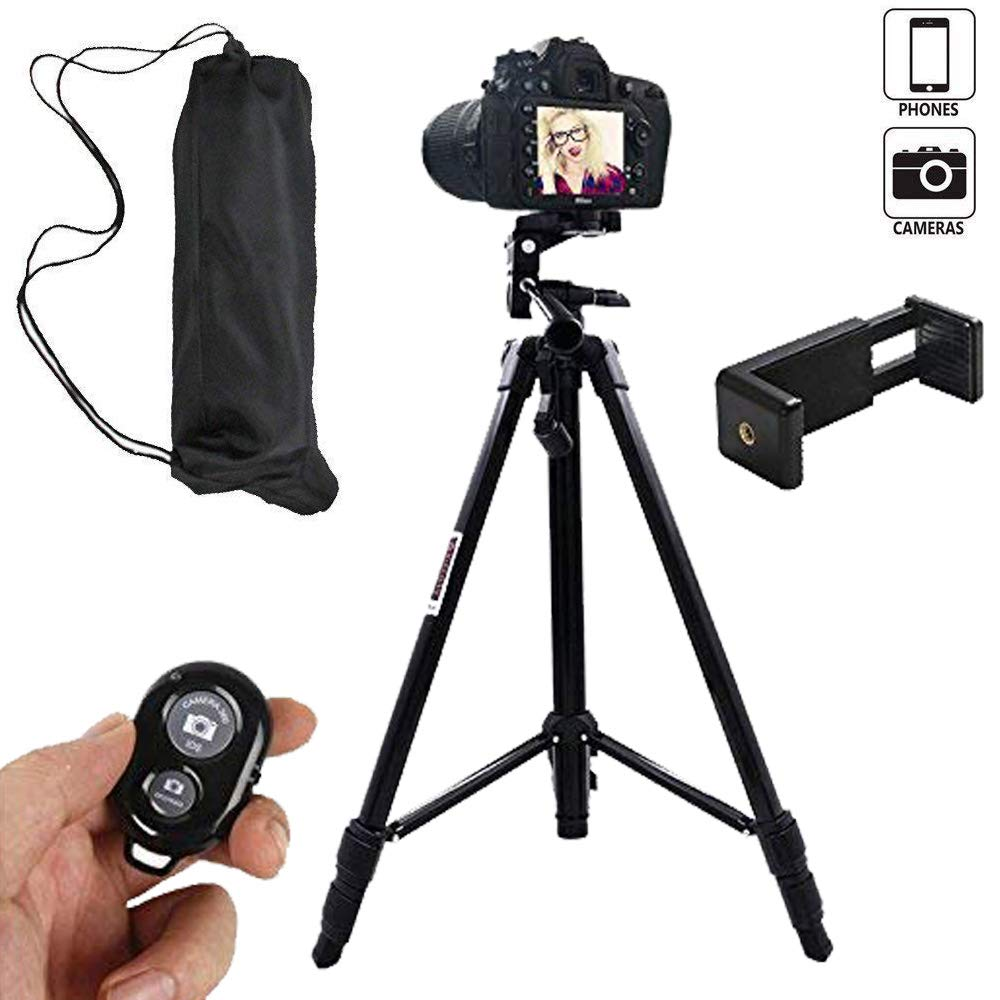 3Csmart 55インチアルミニウム合金ポータブル調節可能カメラ携帯電話三脚 iPhoneカメラ 三脚 携帯電話三脚アダプター Bluetoothリモートシャッターリモートセルフタイマー   B07HFVCQ6S
